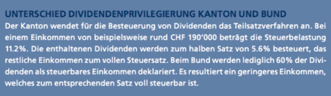 Publikation Unterschied Dividendenprivilegierung Kanton Bund